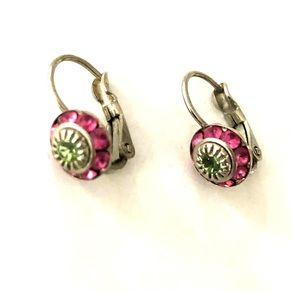 Jewelry - Sterling Silver Earrings w/ pink and green stones